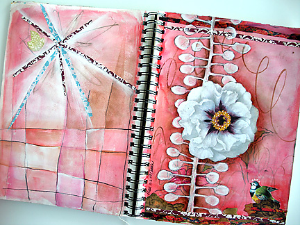White flower journal spread2744